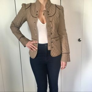 Tan and brown embroidered military-inspired jacket